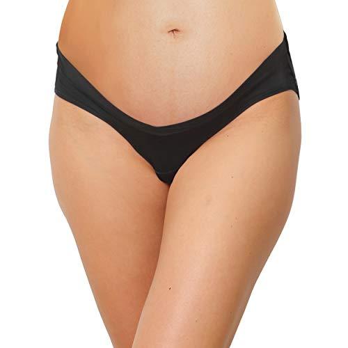 INNERSY Schwangerschafts Unterhosen Baumwolle Umstandsunterwäsche Weich 5er Pack (M, Schwarz)