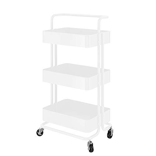 JIANGSN 3-Fach-Fach-Speichereinheit-Rad-Fußrollen, Wohnmobil-Restaurant-Wagen vervollkommnen für Pantry-Wandschrank-Küche,White (Rev Räder)