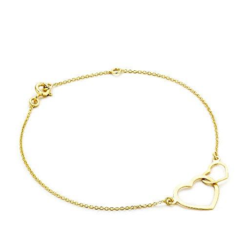 Miore Damen-Armband mit Anhänger - Elegantes Armband aus 9 kt. Gelbgold mit doppeltem Herz-Anhänger - Armschmuck 18 cm lang, Gold
