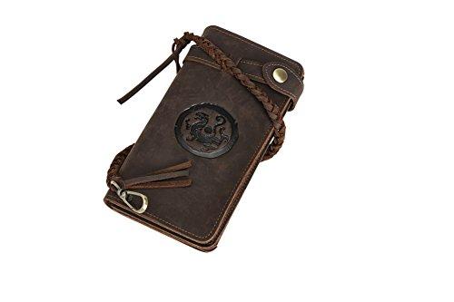 Genda 2Archer Elegante Portafoglio Lungo Dell'annata Borsa di Sicurezza Tasca del Cellulare (4183-BS) 4186-SBR