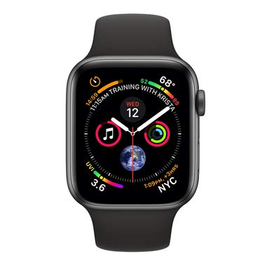 Apple Watch Series 4 (GPS + Cellular) con caja de 44 mm de aluminio en gris espacial y correa deportiva negra