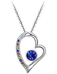 Veuer Schmuck für Damen Silberne Hals-Kette Herzen-Anhänger Weiß-Gold  Vergoldet in Silber mit Strass-Steinen Herz Geschenk zu… c650be9b13