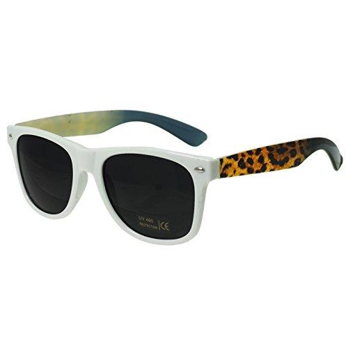 Oramics® Schwarze Retro Wayfarer Sonnenbrille Nerd Brille klar & schwarz (Weiß (Rihanna Outfit)