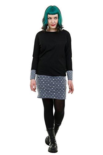 3Elfen Kleid Damen mit Taschen/Cooles Langarm Kleid mit Mini Rock Sweat Shirt Kleid schwarz - Sterne...