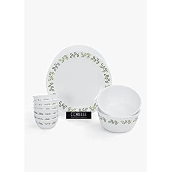 Corelle India Impressions Neo Leaf Dinner Set, 14-Pieces