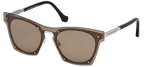 Occhiali da sole balenciaga ba0107 c00 16e (shiny palladium / brown)