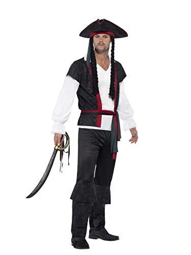 Smiffys 45492XL - Herren Piraten Kapitän Kostüm, Oberteil, Hose, Band und Hut mit Zöpfen, Größe: XL, schwarz