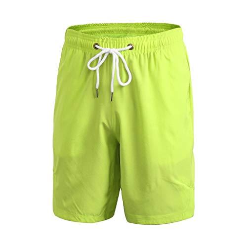Shorts/Skxinn Herren Badehose Freizeit Short Einfarbig Kurze Hose Schnelltrocknend Badeshorts Surfshorts Casual Strand-Shorts Lose Sport Slim Urlaub Pants S-XXL (Grün,Small)