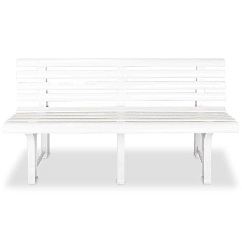mewmewcat Gartenbank Sitzbank Parkbank 145,5 x 49 x 74 cm Kunststoff Weiß
