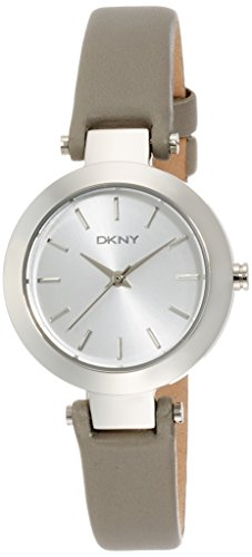DKNY Women's Stanhope 28mm Grey Leather Band Steel Case Quartz Silver-Tone Dial Analog Watch NY2456
