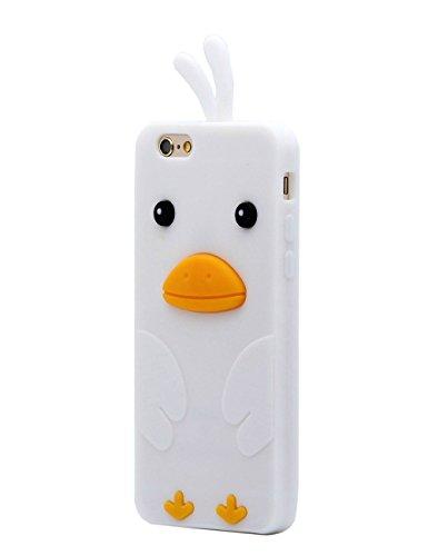 Keyihan iPhone 6 / 6S Hülle, Niedlich 3D Küken Ente Weichem Silikon Stoßdämpfung Handy Schutzhülle Case für iPhone 6 und iPhone 6S (4,7 Zoll) (Weiß)