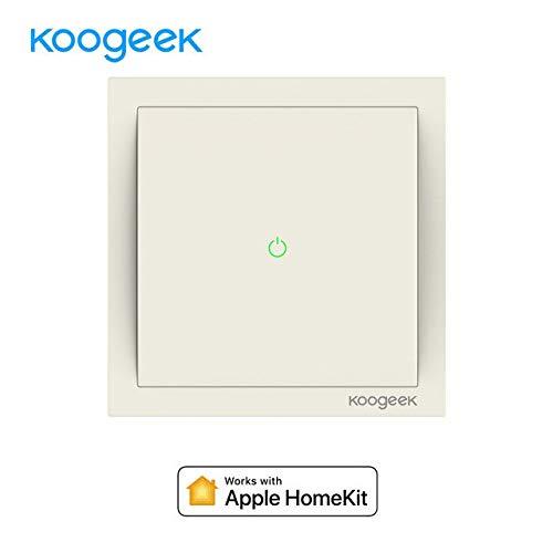 Koogeek Interruptor Wi-Fi de luz inteligente regula la luz 220~240V Compatible con Apple HomeKit Soporte Siri Control remoto One-gang One-way Single Pole Interruptor de pared 2.4GHz Consumo de energía