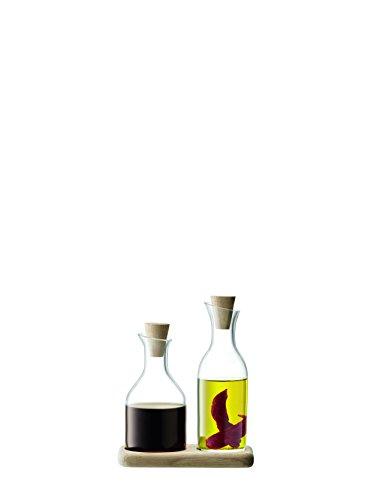 LSA International Service Huile et vinaigre avec Base en chêne, Verre, Transparent, 15 cm