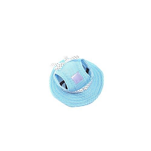 Pet Cap-Masken-Hut Hund Retro Porous Sun Cap mit Ohrlöcher für kleine Hunde oder Katzen Blau S ()