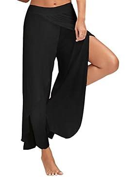 Gusspower Mujer Casual Color Sólido Delgado De Pantalones De Pierna Ancha Cintura Elástica Holgados Flojos Yoga...