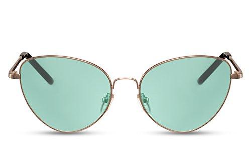 Cheapass Sonnenbrille Frauen Cat-Eye Runde Gläser Gelb Grün Mint UV400 Metall