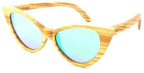 WOO LANDO - Monroe Zebra - Unisex Edelholz-Sonnenbrille aus tropischem Zebraholz, grün verspiegelte Gläser & polarisiert