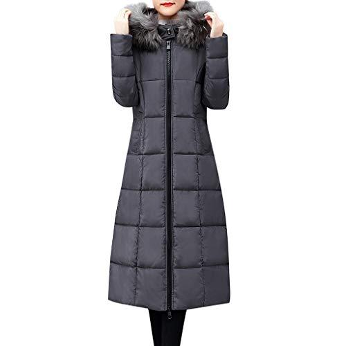 UEVOS Mantel Damen Herbst Winter Super Warme Oberbekleidung Kunstpelzkragen Kapuzenmantel Langer Mantel Damen Lose Baumwolle Gefütterte Jacken Taschenmäntel (M-4XL)