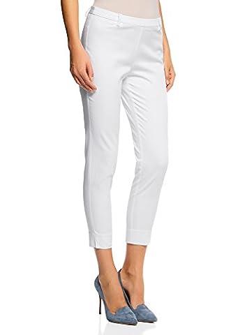oodji Collection Femme Pantalon en Coton Slim Fit, Blanc, FR 44 / XL