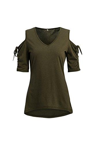 Frauen - Sommer - V - Kalte Schulter - T - Shirt. Armygreen