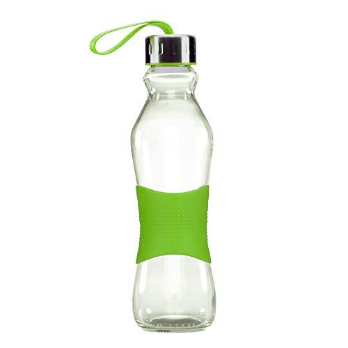 Grip & Go 500ML Glas Trinkflasche - Rutschfester Silikongriff - Edelstahldeckel - ZYANBLAUE