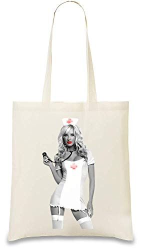 ankenschwester - Naughty Sexy Hot Nurse Custom Printed Tote Bag| 100% Soft Cotton| Natural Color & Eco-Friendly| Unique, Re-Usable & Stylish Handbag For Every Day Use| Custom ()