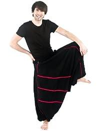 - Sarouel roots elastique mixte noir et rouge babacool -