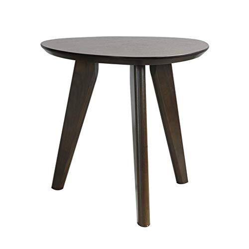M-JH Table d'appoint, Bureau de Table d'extrémité de Table Basse en Bois Solide Rond, Table d'appoint Moderne de Sofa de Salon (Couleur : Noir)