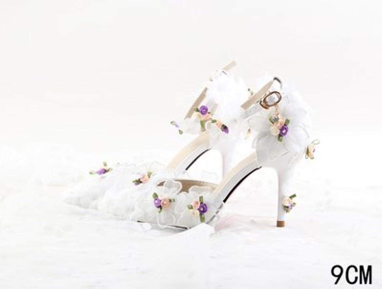 VIVIOO Prom Sandals Beautiful Fashion Flowers Lace Wedding scarpe Super Super Super High Heel Fine Heel Hollow Baotou Dress... | Nuovo Stile  480042