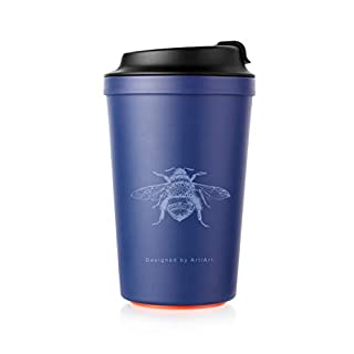 'Coffee to go Beaker with Magic Grip Pad, cannot be Knocked Over. 100% Leak Proof, PP, TPE, Silicone, BPA-free,, Blau-Bienen