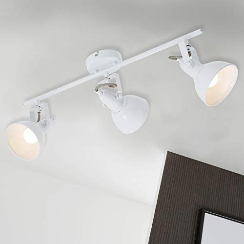 Briloner Leuchten 2049-036 Deckenleuchte, Deckenlampe mit 3 dreh-und schwenkbaren Spots im Retro/Vintage Design, Metall, 40 W, weiß