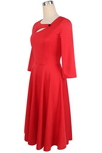 Babyonline d.r.e.s.s Damen 1950er 3/4 Arm Retro Swing Rockabilly kleid knielang S-2XL Rot