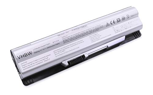 vhbw Li-ION Batterie 6600mAh (11.1V) Argent pour Laptop, Notebook MSI GE-70-Serie, MSI GE60-Serie comme BTY-S14.