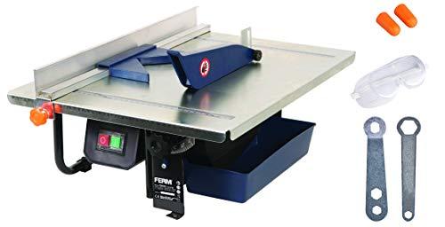 FERM TCM1011 Máquina para cortar azulejos (900 W, 230 V, Acero Inoxidable, Set de 7 Piezas)