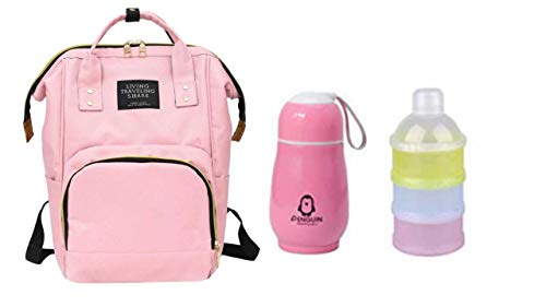 Perfect Pricee Baby Mummy Backpack Travel Maternity Diaper Bag with 1Pc Thermos Bottle Stainless Steel Vaccum Mug for Kids with 3 Layer Portable Baby Food Storage Container (Baby Pink)