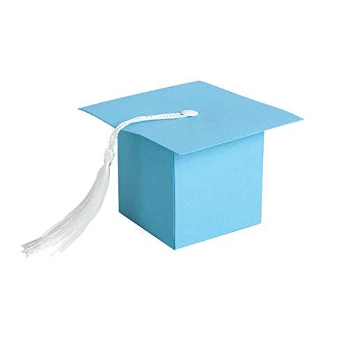 eative Süßigkeitskästen Set Trencher Cap-Design Verpackung Fall Decor Dectoral Hut-Muster Geschenke Paket Mitbringsel Tasche Mit Quasten Für Feier Blau ()