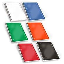 Pigna 02155555M, Quaderno Maxi Spiralato A4 con Fori e Microperforazione, Rigatura 5M, quadretti 5 mm per 2° e 3° elementare, Carta 80g/mq, Pacco da 5 Pezzi