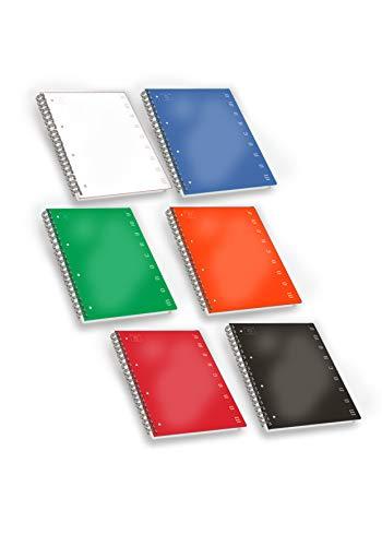 Pigna 02155551r, quaderno maxi spiralato a4 con fori e microperforazione, rigatura 1r, righe per medie e superiori, carta 80g/mq, pacco da 5 pezzi