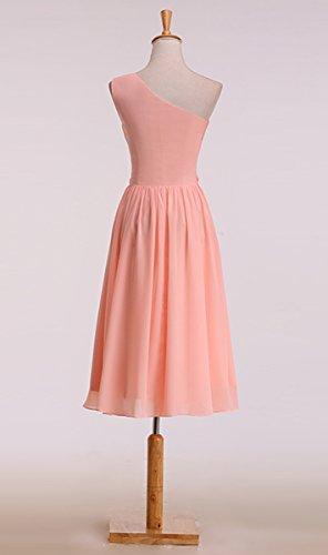 KekeHouse® Ein-Schulter A-Linie Knielang Brautjungkleid Mutter Tochter Abendkleid Geblümtes Partykleid Blumenmkleid Mintgrün