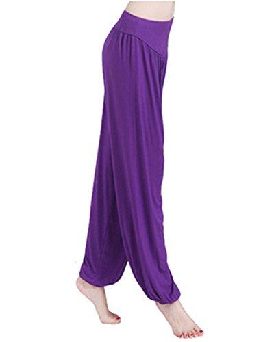 Super Doux Yoga Pilates Pantalon Bouffant Harem Pantalons Pour Femme Danse Fitness Violet