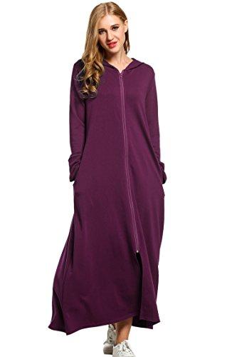 UNibelle Damen Langarm Bademantel mit Taschen, Reißverschluss & Kapuze Morgenmantel, Weinbeere, L - Mit Für Nachthemden Damen Reißverschluss