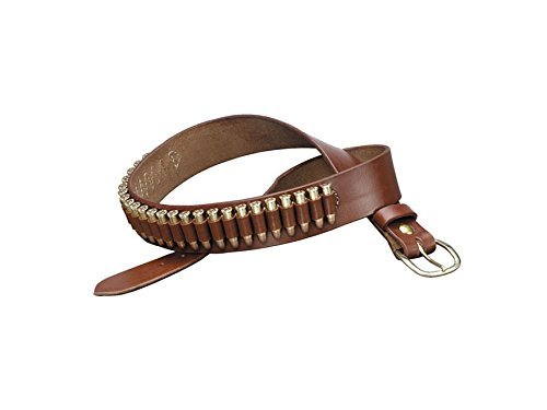 TRIPLE K 10029 100 Heavy Saddle Leather Pistol Cartridge Belt, Walnut Oil, Plain Finish -