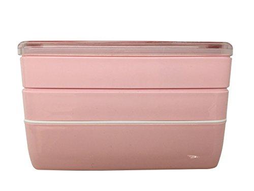 Lunch Box/Bento Box,Brotdose,MACDIAZ Japanische Bento Lunch Box,Mikrowellen Lunchboxen FÜR Erwachsene Kinder,Mit Besteck,Mittagessen Box, 3 Ebenen (Rosa)