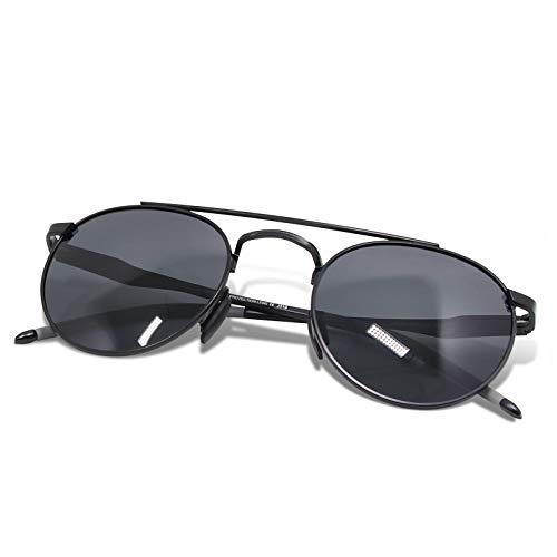 WHCREAT Unisex Retro Runde Polarisierte Sonnenbrille Mode Vintage Style Ultraleicht AL-MG Rahmen HD Linse für Herren und Damen - Schwarz Rahmen Schwarz Linse