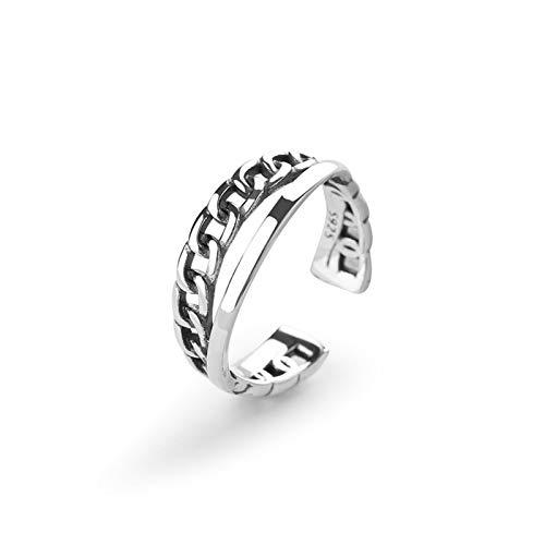 Beydodo Ring Silber 925 Damen Doppelschichten Biker Kette Partnerring Ehering Ring Silber