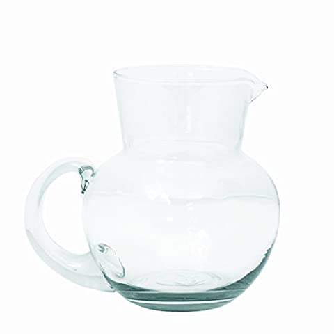 Grehom Recycled Glass Clear Jug - Pot Belly; 1.8 Litre Pitcher