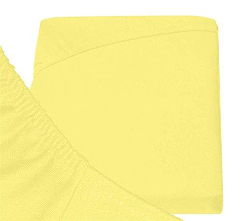 Double Jersey - Spannbettlaken 100% Baumwolle Jersey-Stretch bettlaken, Ultra Weich und Bügelfrei mit bis zu 30cm Stehghöhe, 160x200x30 Gelb - 6