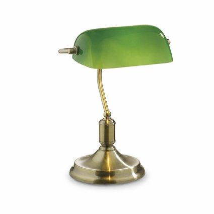 Ideal Lux LAWYER TL1E27Glühlampe Messing, Grün Tischleuchte Tisch-Lampen, Messing, Grün, Glas, Metall, Schlafzimmer, Studie, IP20, E27, 1Leuchtmittel (S)