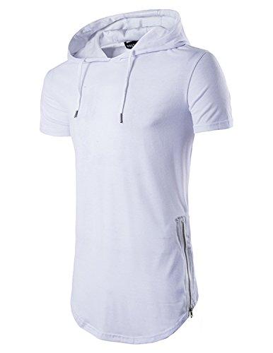 YCHENG Herren Lange Reißverschluss Streetwear Hip Hop Slim fit T-shirt mit Kapuze Weiß