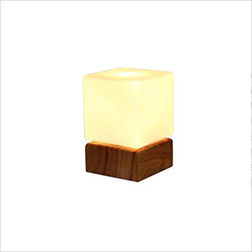uus Lampe de table solide bois verre carré LED chambre lampe de chevet E27 ampoule base 8 * 41cm blanc lumière, lumière chaude (économie d'énergie A +) (taille : Warm light12*17cm)